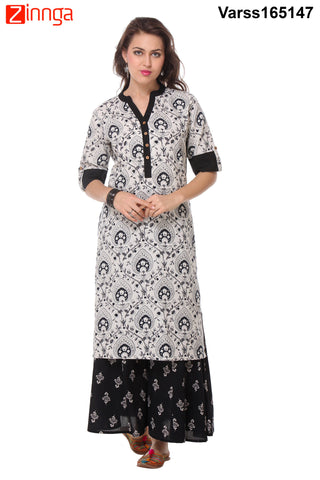 Off White and Black Color Rayon Flex Stitched Kurti  - VARSS165147