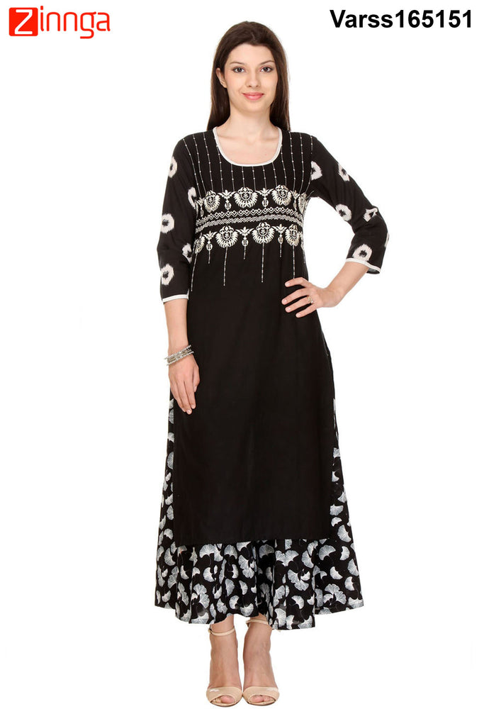 Navy Blue Color Flex Rayon Kurti