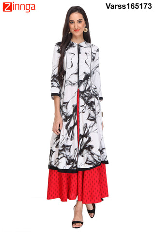 Blue and White Color Rayon Stitched  Kurti  - VARSS165173