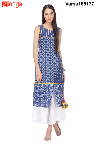 Navy Blue Color Cambric Stitched Kurti  - VARSS165177