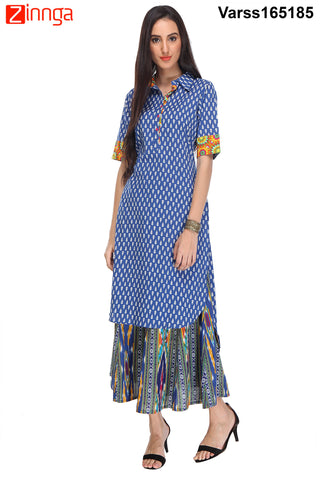 Blue Color  Cambric Stitched Kurti  - VARSS165185