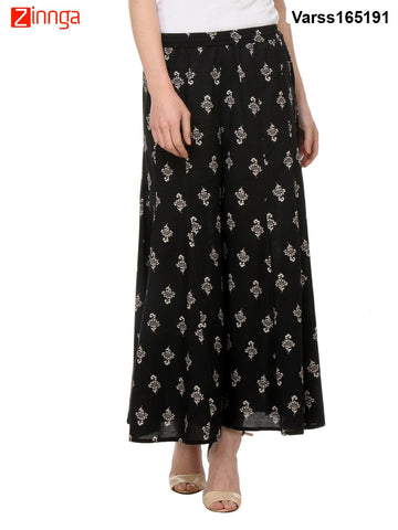 BLACK COLOR COTTON PLAZO - VARSS165191