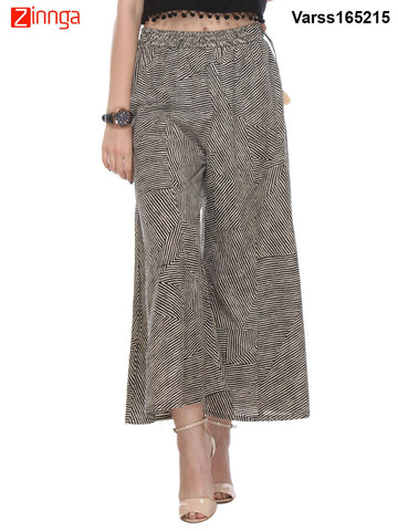 BLACK AND CREAM COLOR COTTON PLAZO - VARSS165215