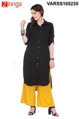 Black Color Rayon Flex Kurti