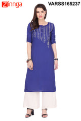 Royal Blue Color Rayon Kurti