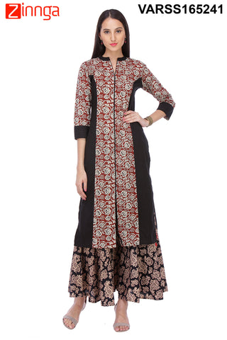 Black Color Cambric Stitched Kurti  - VARSS165241