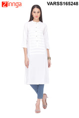 White Color Rayon Flex Kurti