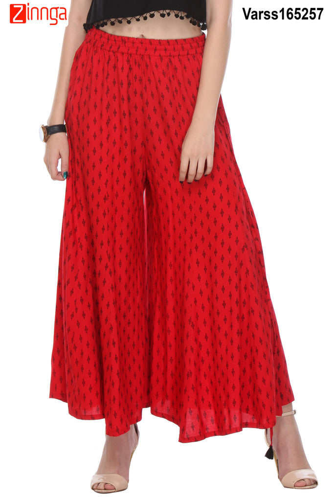 RED AND BLACK COLOR COTTON PLAZO