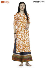 Orange Color Rayon Stitched Kurti