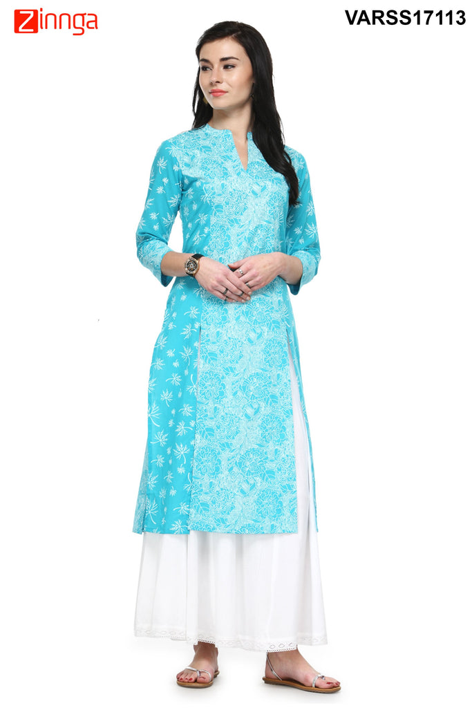 Sky Blue Color Rayon Stitched Kurti