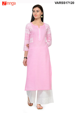 Baby Pink Color Cotton Stitched Kurti - VARSS17120