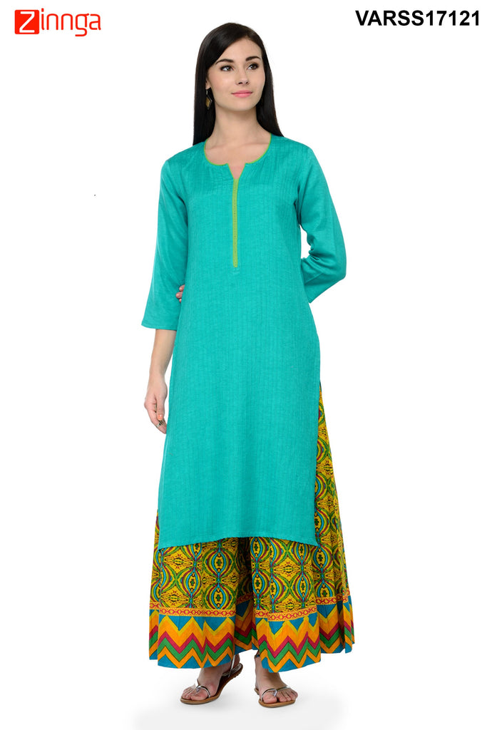 Sea Green  Color Rayon Stitched Kurti
