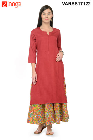 Brick Red Color Cotton Stitched Kurti - VARSS17122