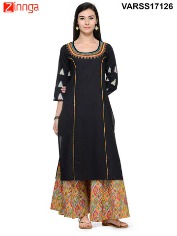 Black  Color Rayon Stitched Kurti - VARSS17126