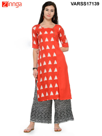 Red  Color Rayon Stitched Kurti - VARSS17139