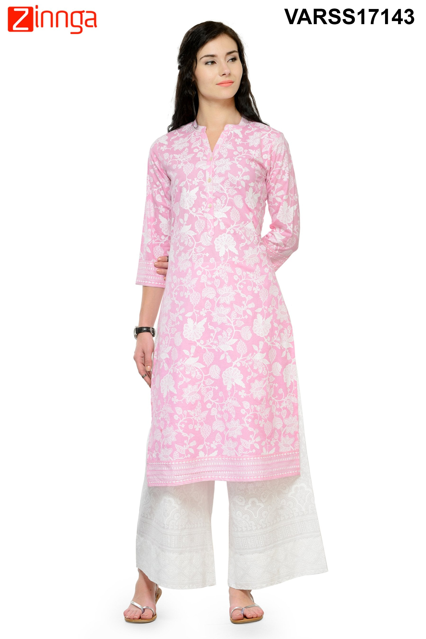 c745c98a03 Baby Pink Color Cotton Stitched Kurti | Zinnga