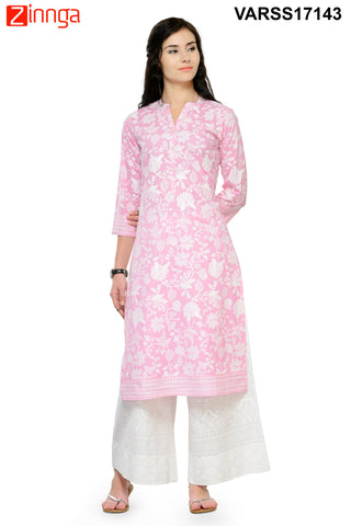 Baby Pink  Color Cotton Stitched Kurti - VARSS17143