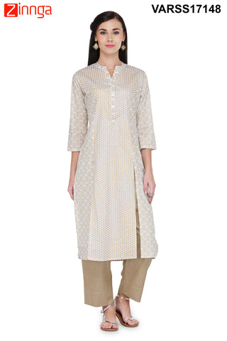 Beige  Color Cotton  Stitched Kurti - VARSS17148