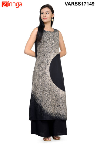 Black  and White Color Cotton  Stitched Kurti - VARSS17149