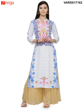 White and Blue Color Rayon Stitched Kurti - VARSS17162