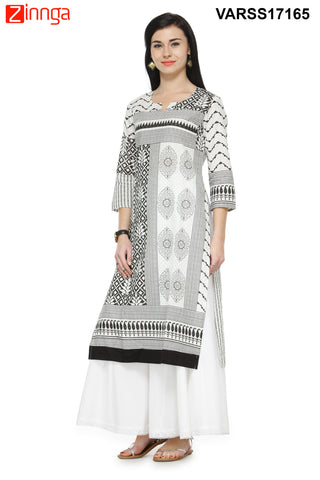 Black and White Color Cotton Stitched Kurti - VARSS17165