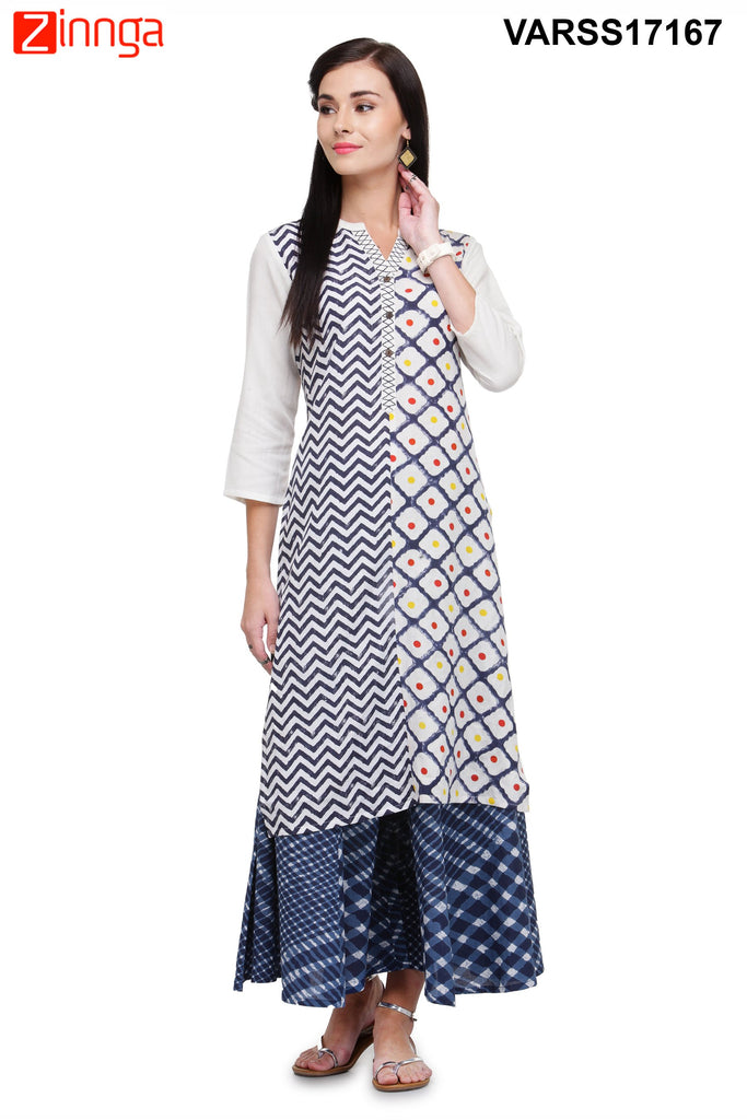 White and Navy Blue Color Rayon Stitched Kurti