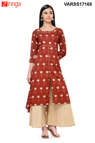 Maroon Color Cotton Stitched Kurti - VARSS17168