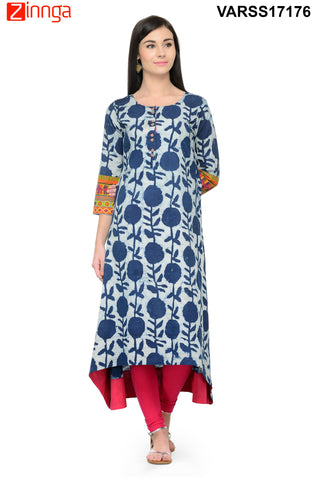 Navy Blue Color Rayon Stitched Kurti - VARSS17176