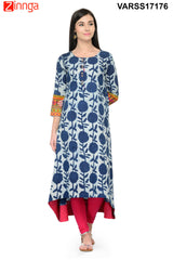 Navy Blue Color Rayon Stitched Kurti