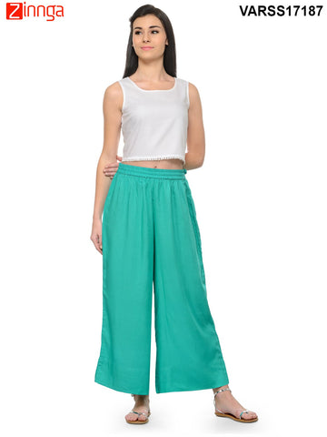 SEA GREEN COLOR RAYON PLAZO - VARSS17187