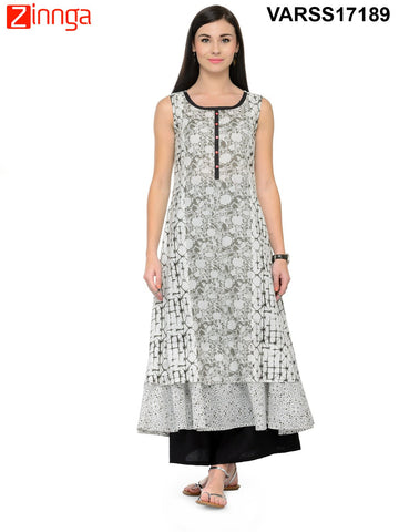 Black and White Color Cotton Stitched Kurti - VARSS17189