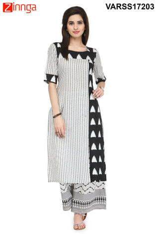 Black and White Color Rayon Stitched Kurti - VARSS17203