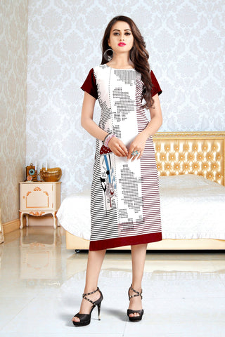 Off White Color Heavy Rayon Stitched Kurti - VAT194A