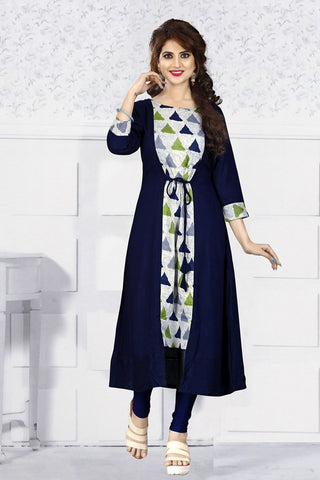 Navy Blue Color Rayon Print Stitched Kurti - VAT281A
