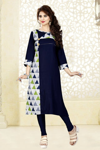 Navy Blue Color Rayon Print Stitched Kurti - VAT282A