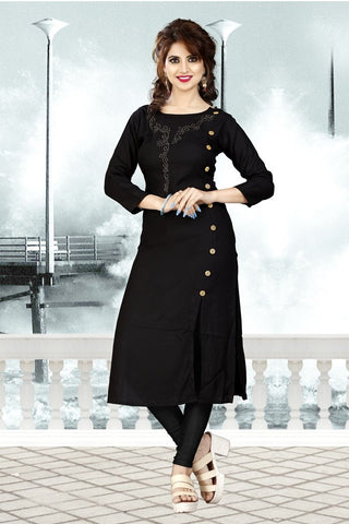 Black Color Heavy Rayon Stitched Kurti - VAT283A