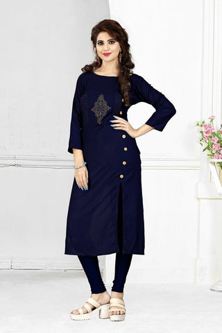 Navy Blue Color Heavy Rayon Stitched Kurti - VAT286A