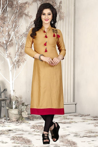 Beige Color Heavy Rayon Stitched Kurti - VAT298A