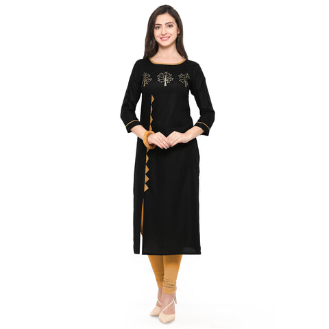 Black Color Heavy Rayon Stitched Kurti - VAT303A