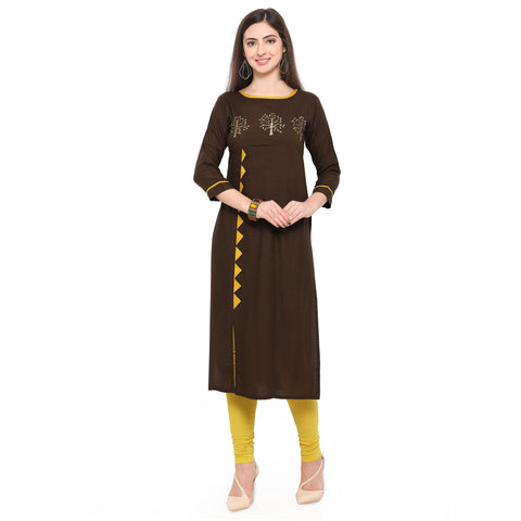 Brown Color Heavy Rayon Stitched Kurti - VAT304A