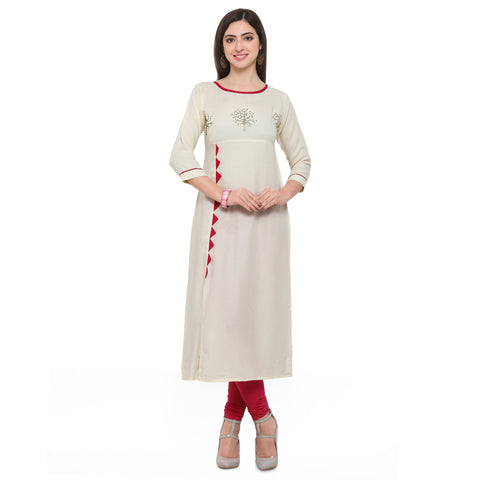 Off White Color Heavy Rayon Stitched Kurti - VAT305A