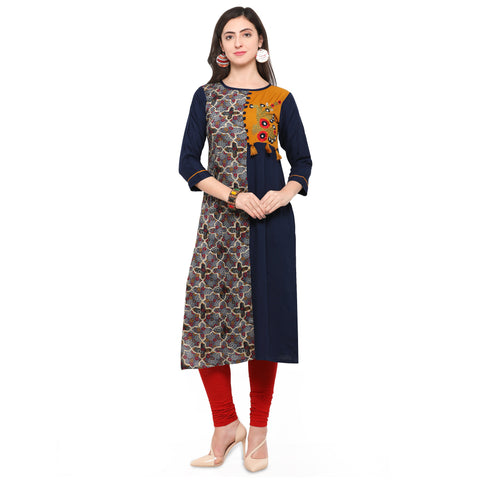 Multi Color Rayon Print And Heavy Rayon Stitched Kurti - VAT309A