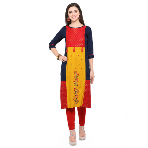 Multi Color Rayon Print And Heavy Rayon Stitched Kurti - VAT310A