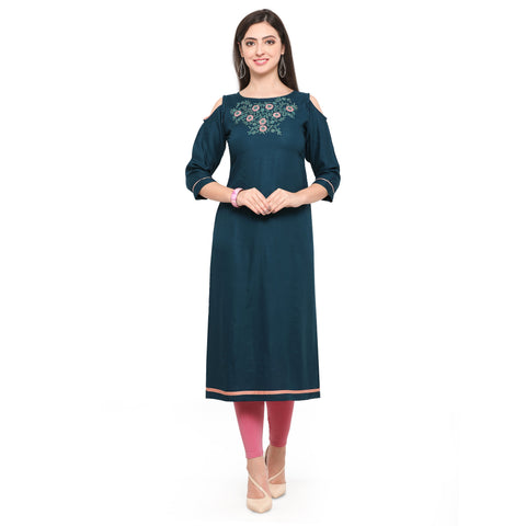 Teal Blue Color Heavy Rayon Stitched Kurti - VAT313A