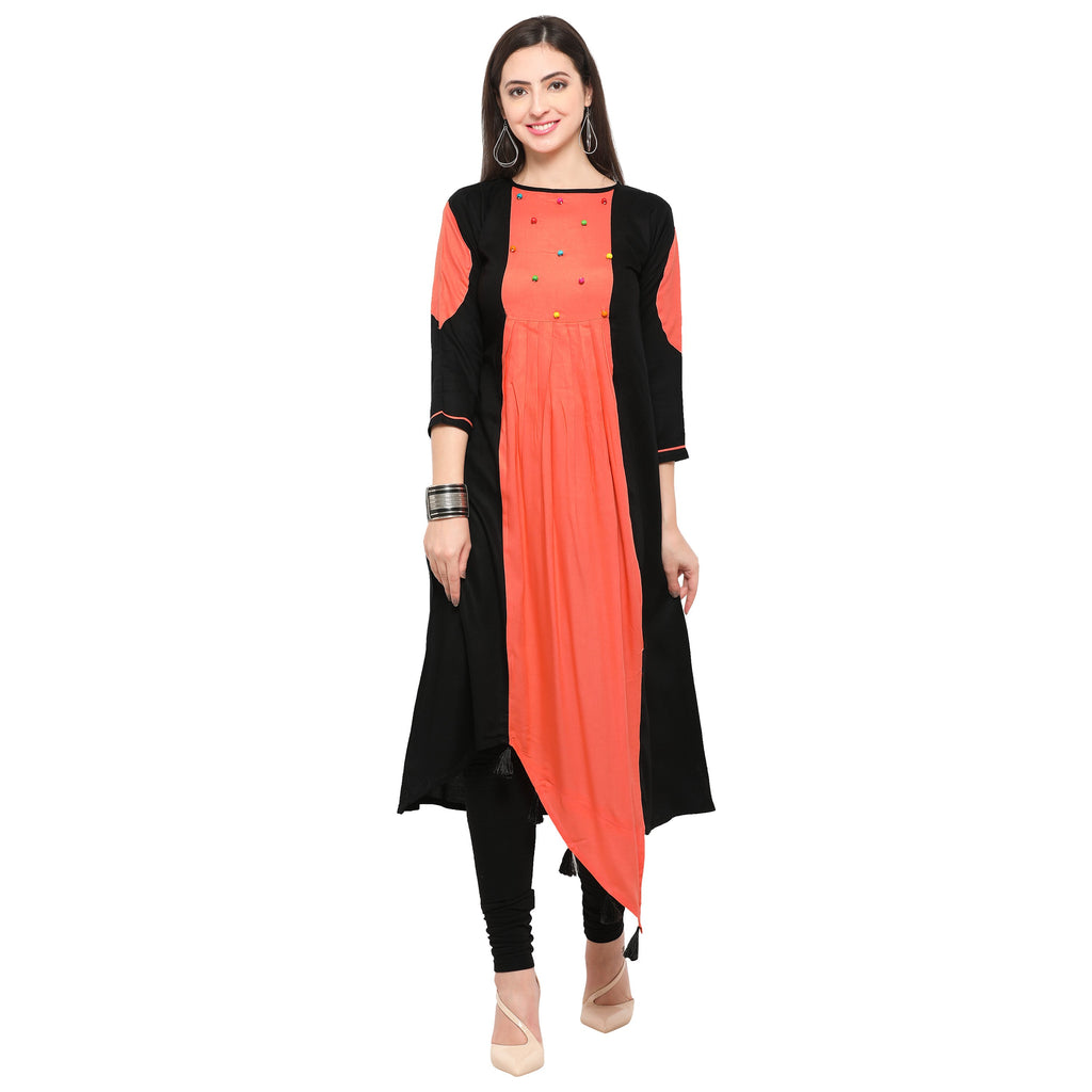 Buy Black And Orange Color Heavy Rayon Stitched Kurti