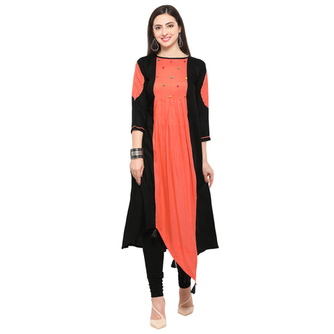 Black And Orange Color Heavy Rayon Stitched Kurti - VAT314A