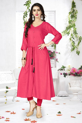 Pink Color Heavy Rayon Stitched Kurti - VAT332A