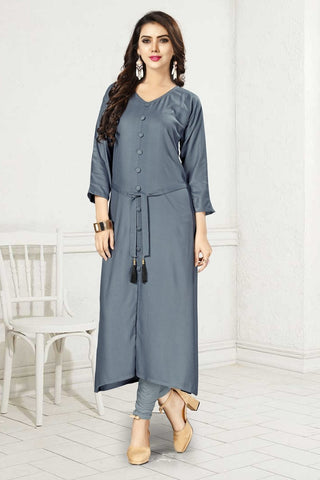 Grey Color 14Kg Heavy Rayon Stitched Kurti - VAT336A