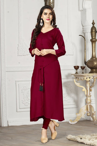 Maroon Color 14Kg Heavy Rayon Stitched Kurti - VAT337A