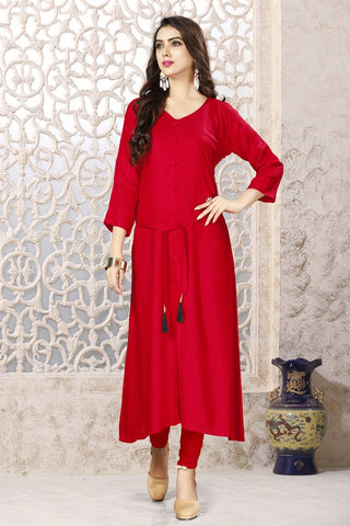 Red Color 14Kg Heavy Rayon Stitched Kurti - VAT341A